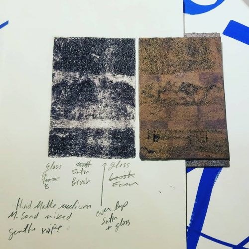 Test plate next to print from plate. (Print on left plate on  right.)