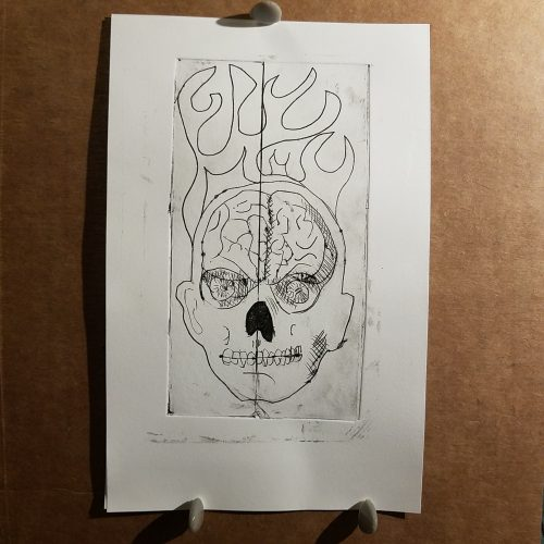 brain, skull and flames