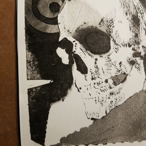 detail of the second skull and circles print