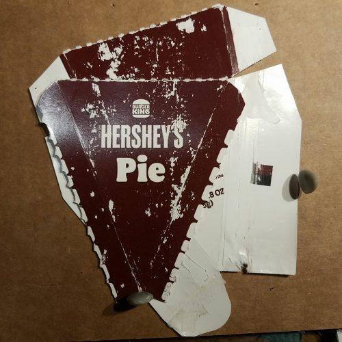 Flattened hershey pie carton