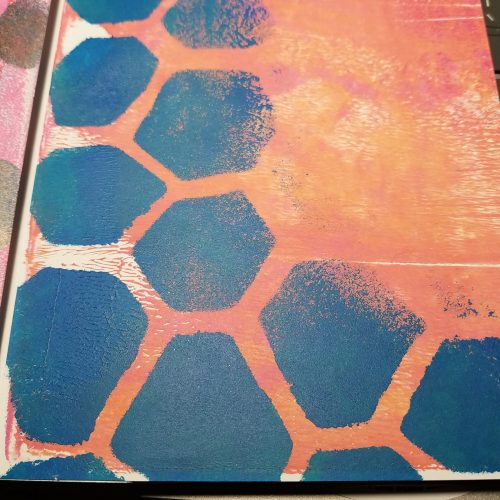 2 color gelli print with distorted hex pattern