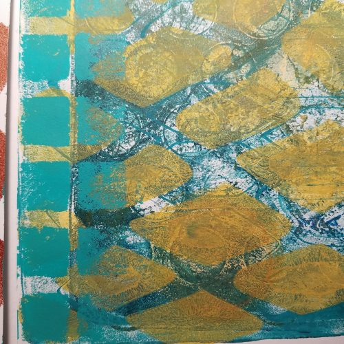 many layered gelli print with squares and net pattern