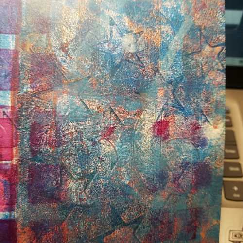 many layered gelli print, numbers squares and other patterns